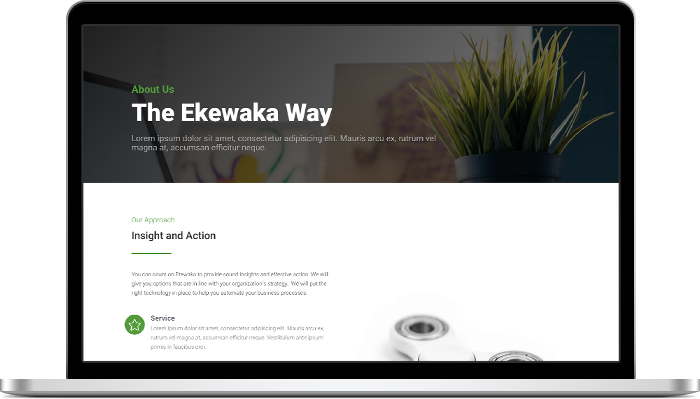 Ekewaka About Page Layout