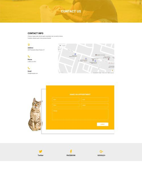 Pet Care Contact Layout