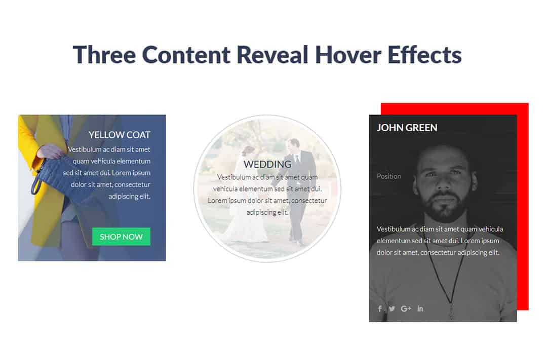 Three Content Reveal Hover Effects
