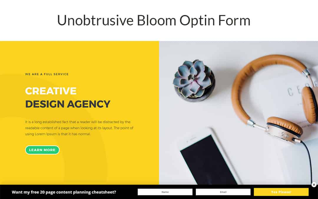 Unobtrusive Bloom Optin Form
