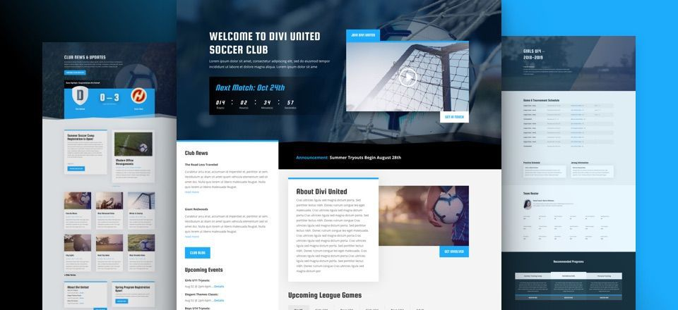 Divi Soccer Club Layout Pack