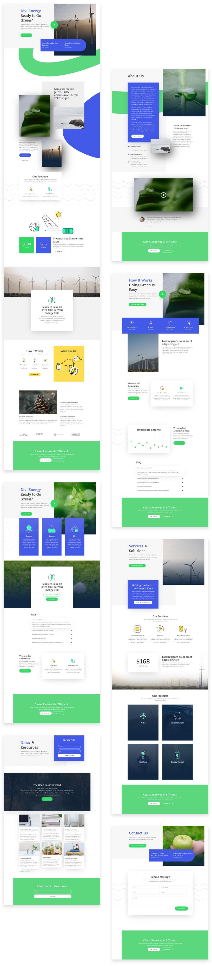Green Energy Divi Layout Pack
