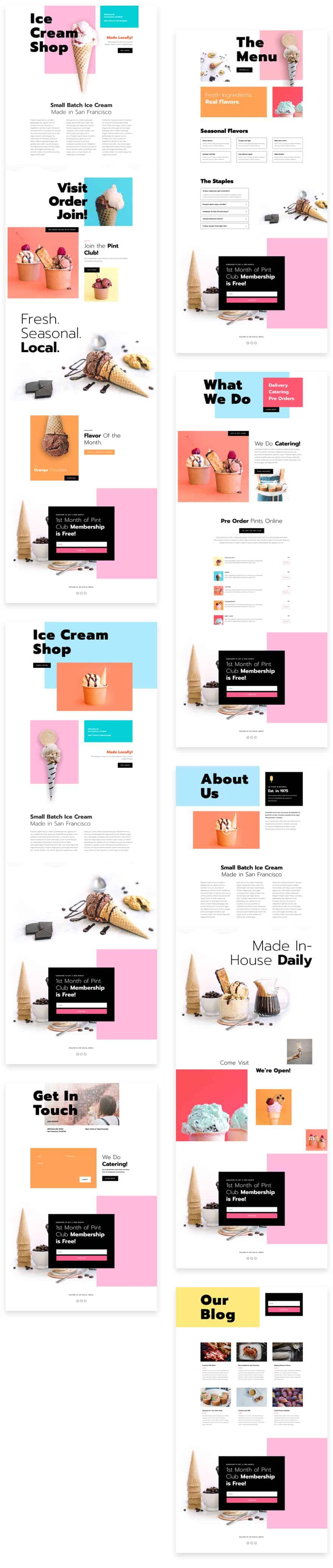 Ice Cream Shop Divi Layout Pack