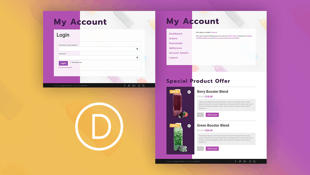 WooCommerce Account Page with a Featured Product Section