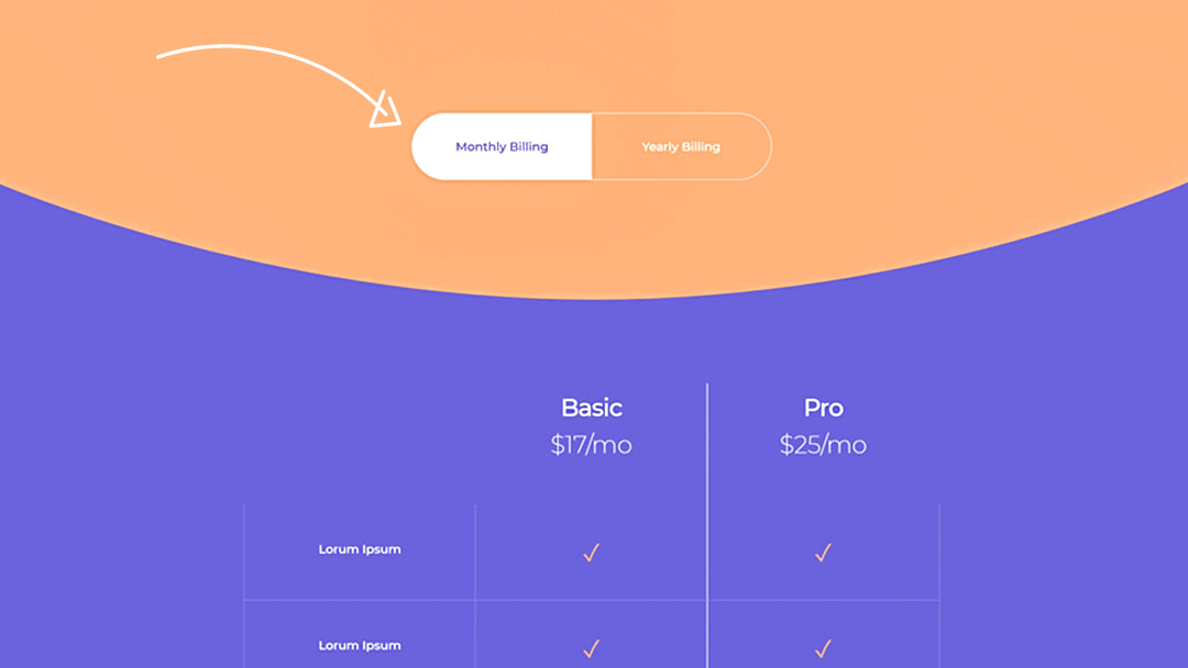 Divi Monthly/Yearly Pricing Toggle
