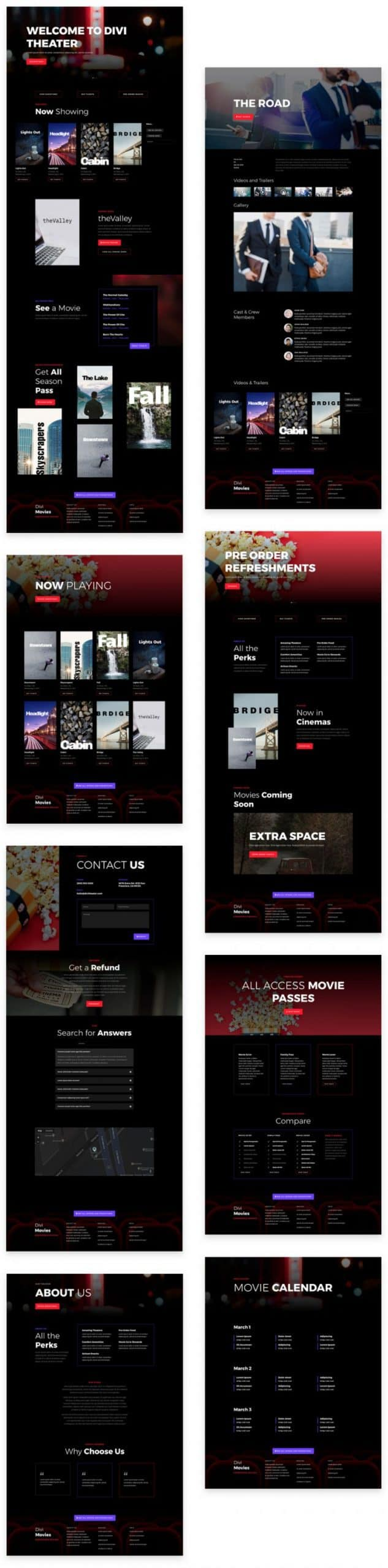 Movie Theatre Divi Layout Pack