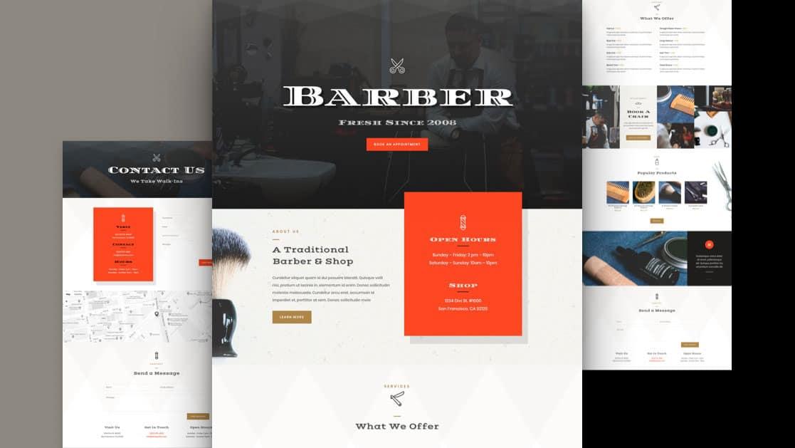 Barber Shop Divi Layout Pack