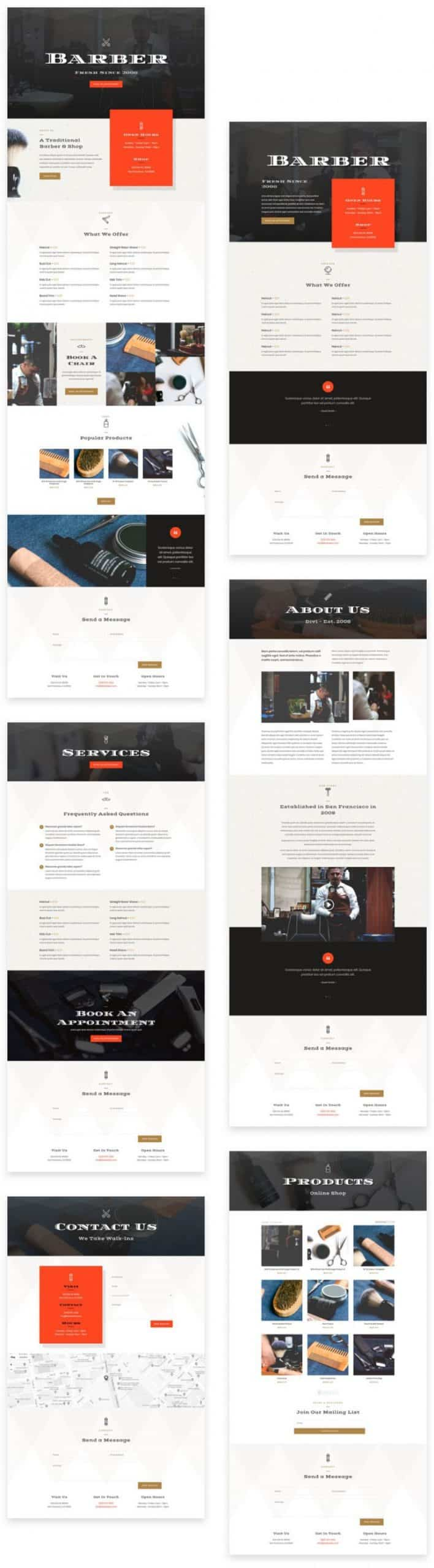 Barber Shop Divi Layout Pack