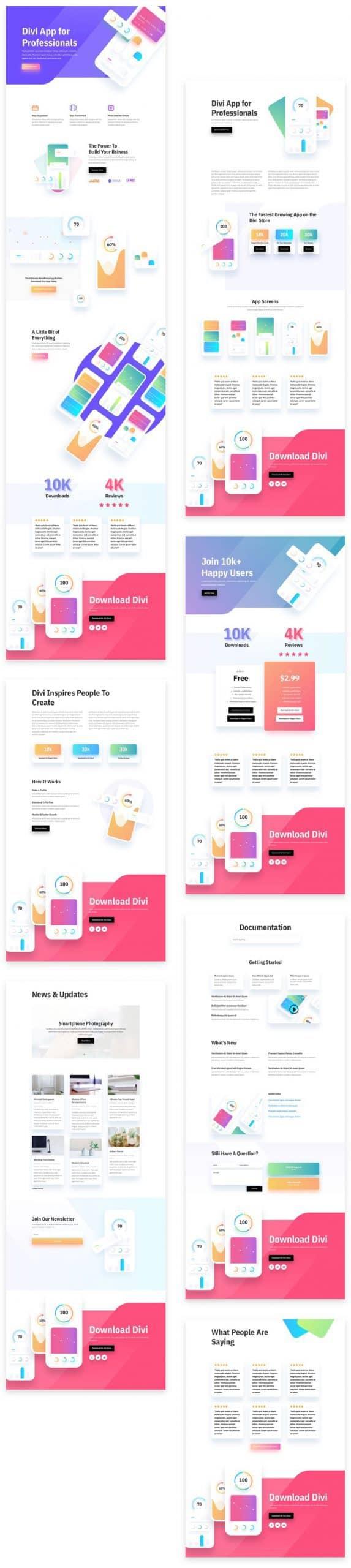 Mobile App Divi Layout Pack