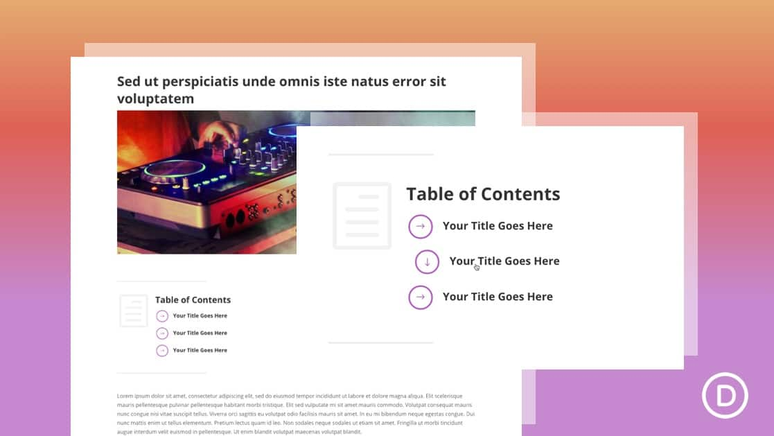 Clickable Table of Contents for a Blog Post