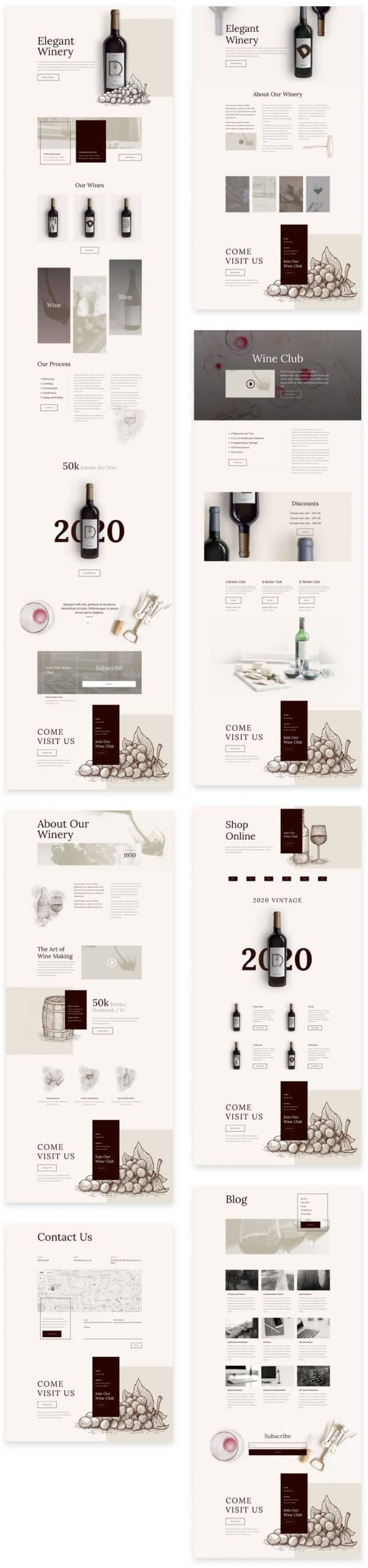 Winery Divi Layout Pack
