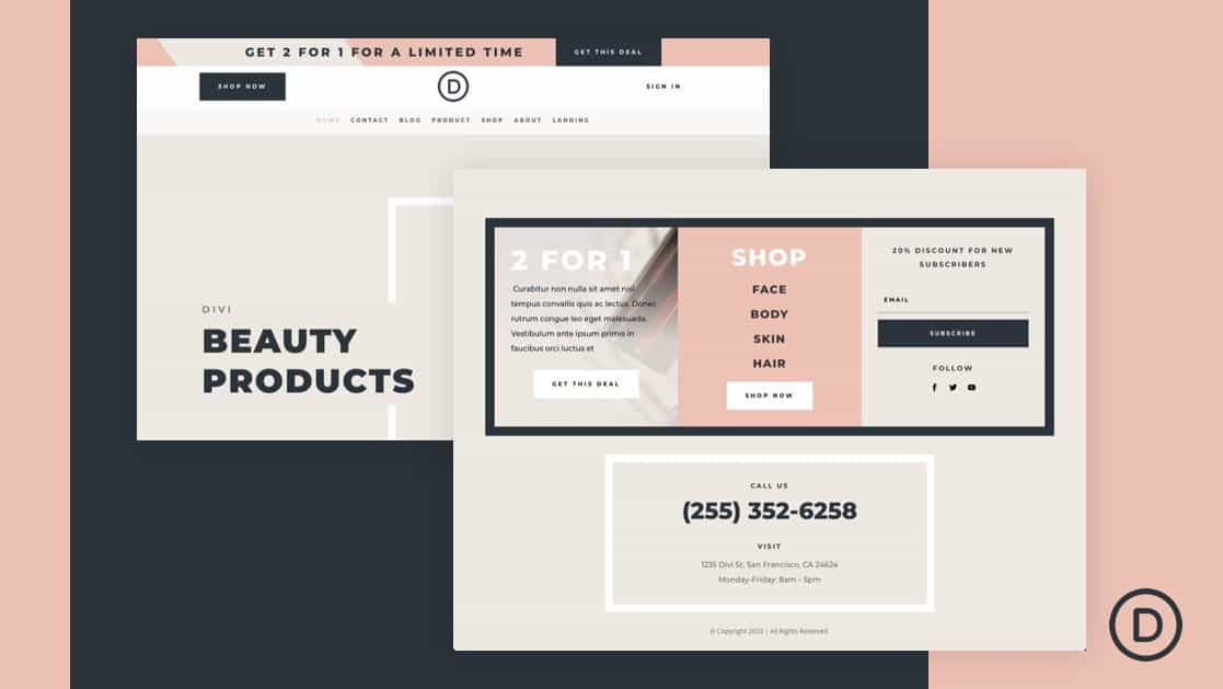 Header & Footer for Beauty Product Layout Pack