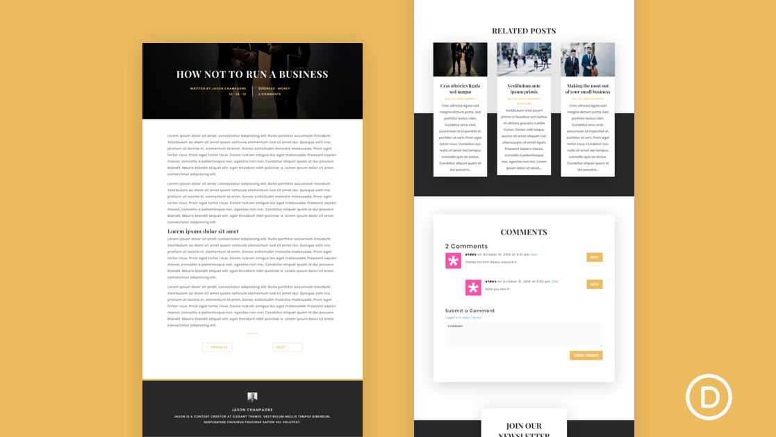 Blog Post Template for Business Consultant Layout