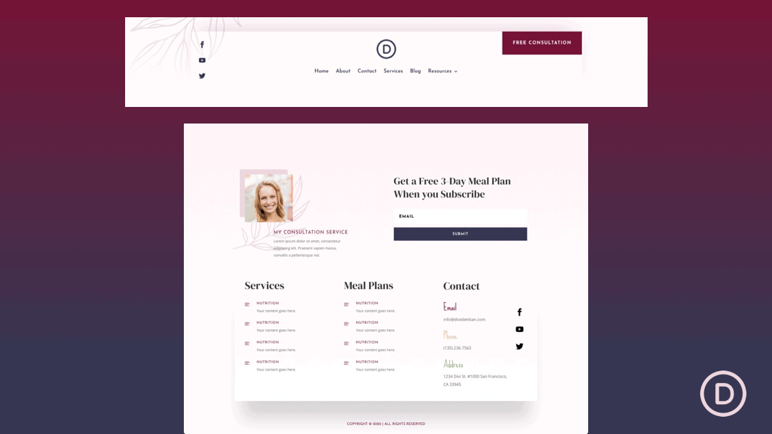 Header & Footer for Dietitian Layout Pack