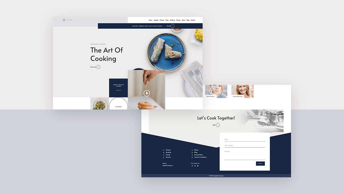 Header & Footer for Cooking School Layout Pack