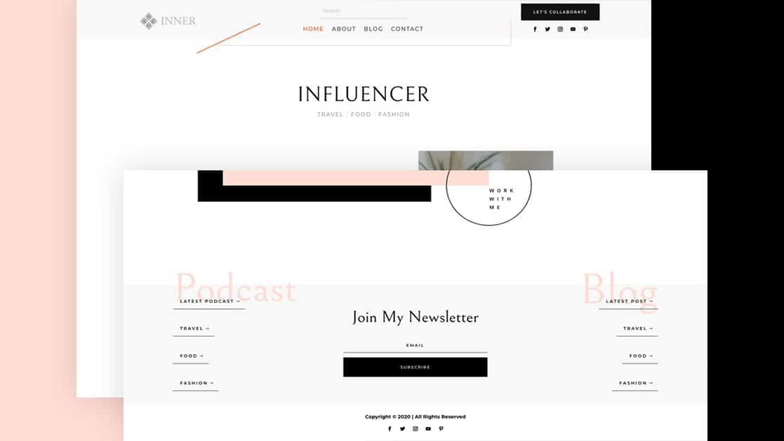 Header & Footer for Influencer Layout Pack