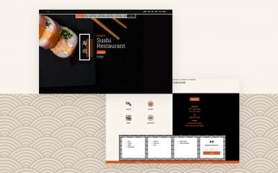 Header & Footer for Sushi Restaurant Layout Pack