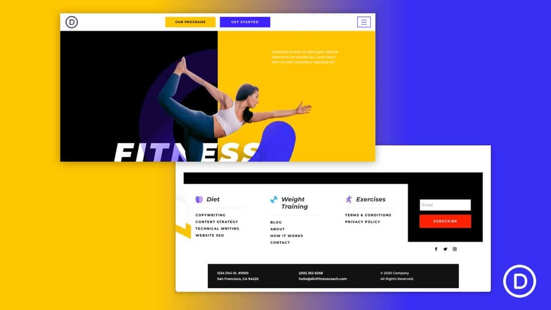 Header & Footer for Fitness Coach Layout Pack