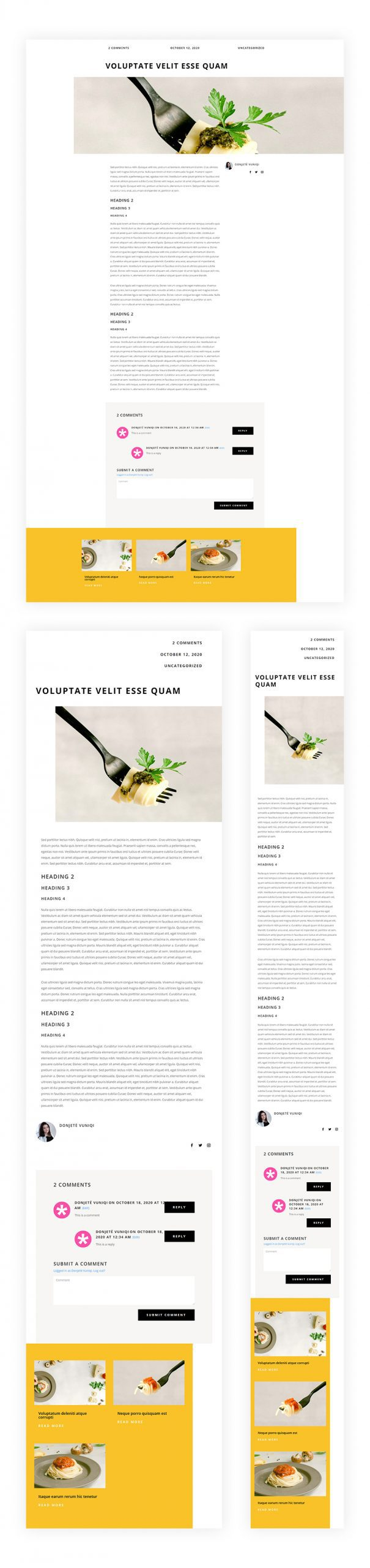 Blog Post Template for Italian Restaurant Layout Pack