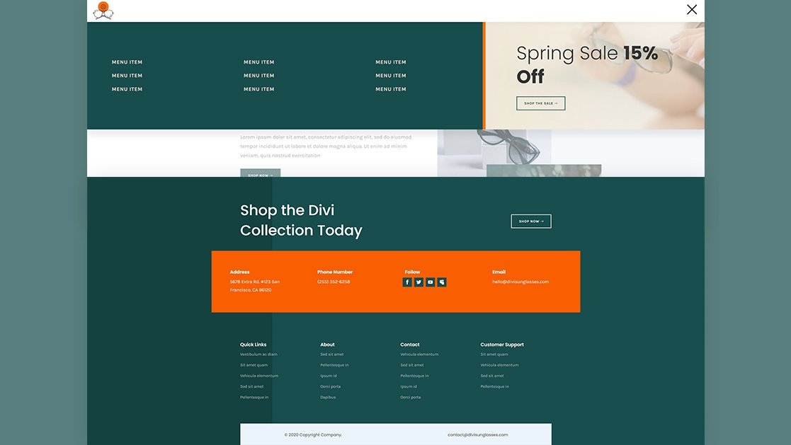Header & Footer for Sunglasses Shop Layout Pack